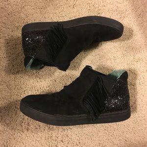 Cat & Jack Black Sparkle Fringe Sneakers Sz 1